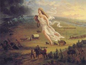 A tela de John Gast, pintada por volta de 1872 é uma representação do